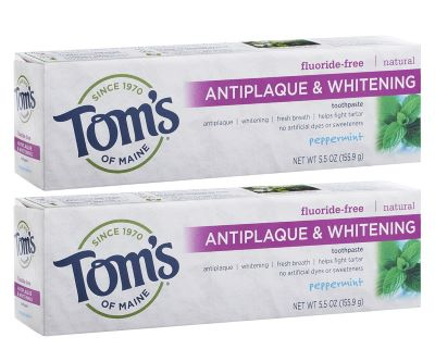 12. Tom's Of Maine Flouride-Free Antiplaque And Whitening Toothpaste - Peppermint, 5.5-Ounce, 2-Pack
