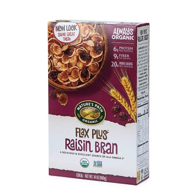 7. Nature's Path Flax Plus Raisin Bran - 14-Ounce, 12-Pack