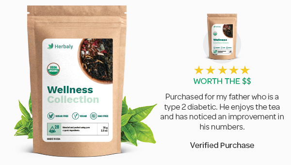 1. Herbaly's All-Natural Tea For Healthy Blood Sugar Levels
