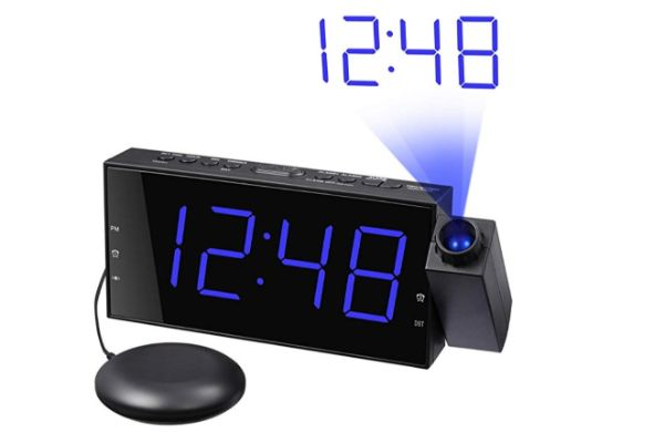 Mesqool Loud Alarm Clock with Bed Shaker and Projector
