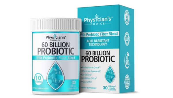 2. Physician's Choice 60 Billion Probiotic with Prebiotic Fiber Blend