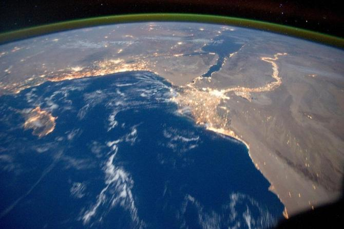 Earth's airglow is seen with an oblique view of the Mediterranean Sea area, including the Nile River with its delta and the Sinai Peninsula, in this October 15, 2011 NASA handout photograph taken by a crew member of Expedition 29 aboard the International