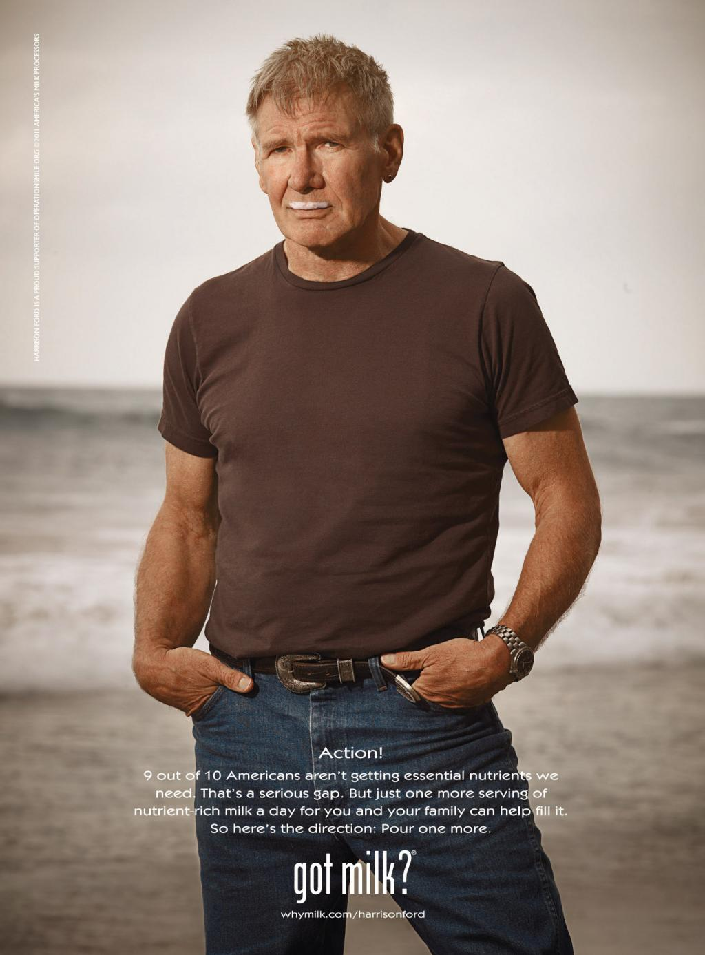 Harrison Ford: Actor, producer, and milk enthusiast.