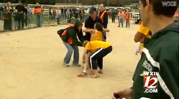 Kayla Montgomery collapsed after crossing the finish line