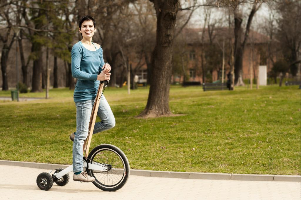 Woman riding Halfbike