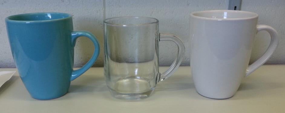 Three coffee mugs used in coffee experiment