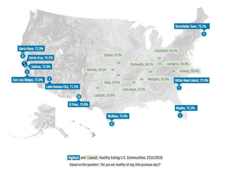 Healthy Eating map United States