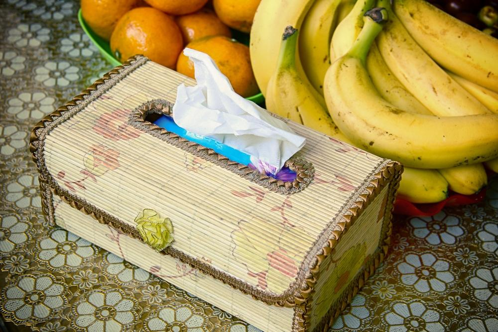 Tissue box next to bananas and oranges