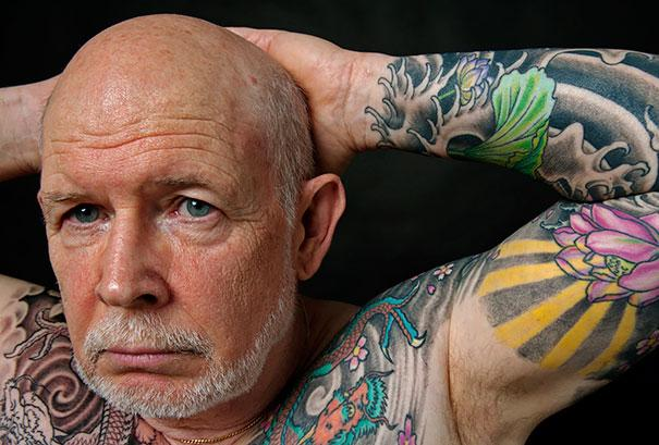 Man with colorful tattoos