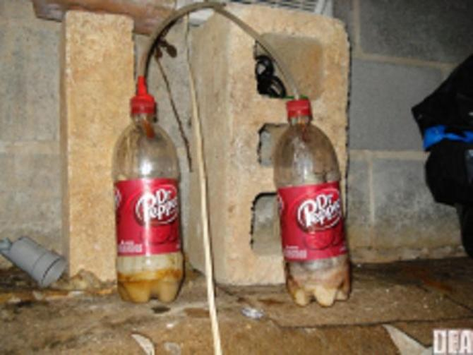an example of mini shake and bake meth lab using soda