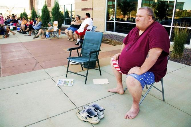 """Clifford Clark, weighing 485 pounds waits in line for an open casting call for season 11 of """"The Biggest Loser"""" television show in Broomfield, Colorado July 17, 2010."""