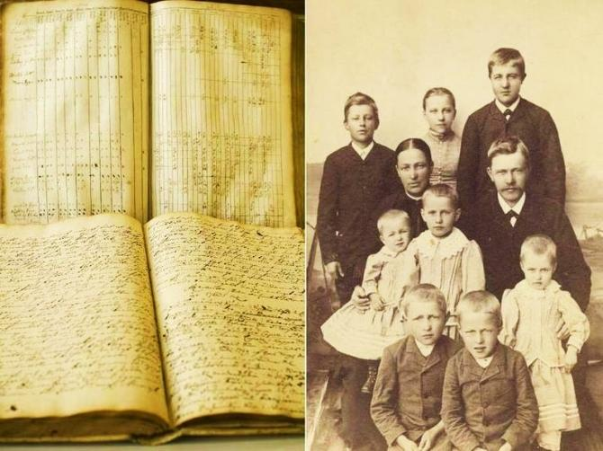 Church documents documenting the life of 19th century Finnish families, which provided data for scientists analyzing the potential for evolution in people.