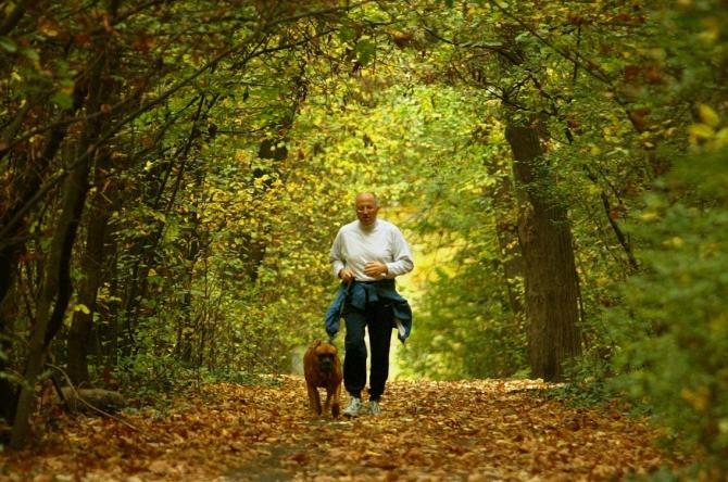 man and his dog jogs in park
