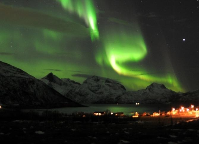A general view of the aurora borealis near the city of Tromsoe in northern Norway.