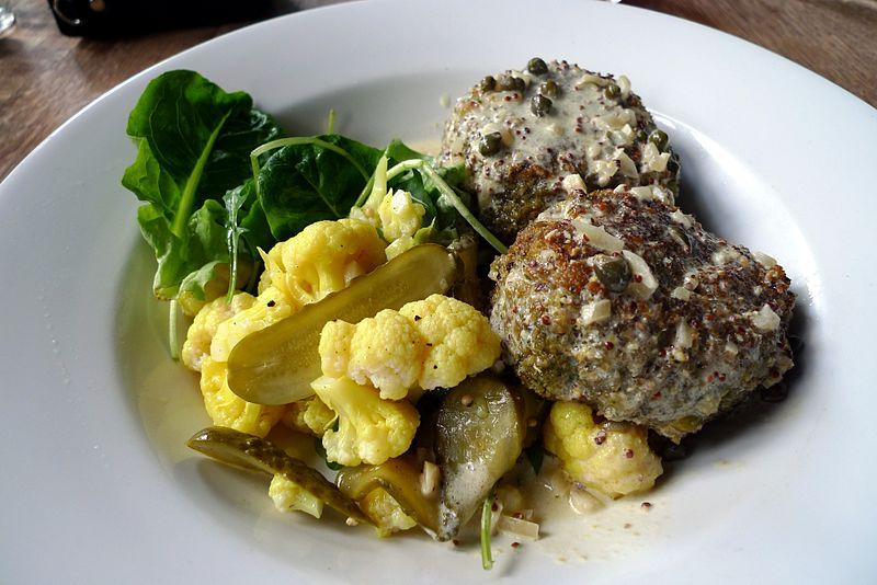 Falafel with healthy greens.