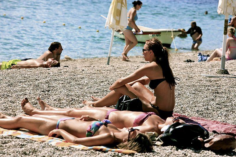 Women sunbathing