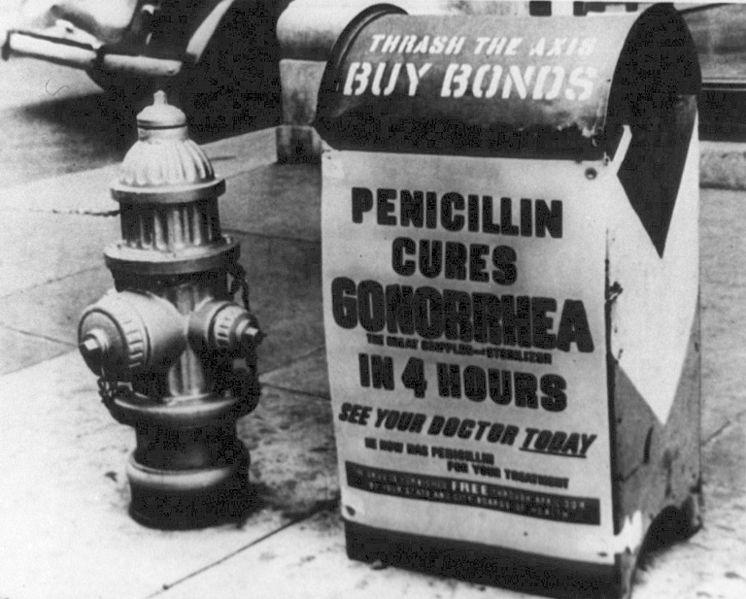 Public health sign for penicillin cure for gonorrhea