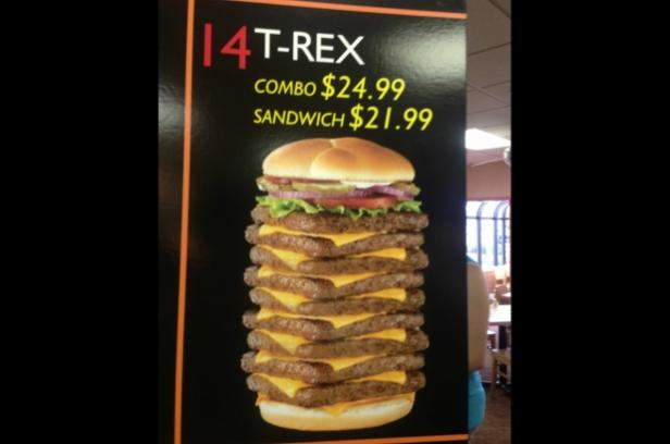 Wendy S Nine Patties 3000 Calorie T Rex Burger Nixed By Food Chain For Unhealthy Inappropriate Portion