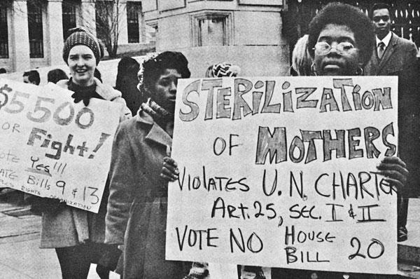 People protesting Sterilization in State Eugenics Program