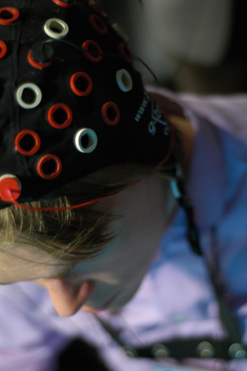 An EEG placed on a man's head.
