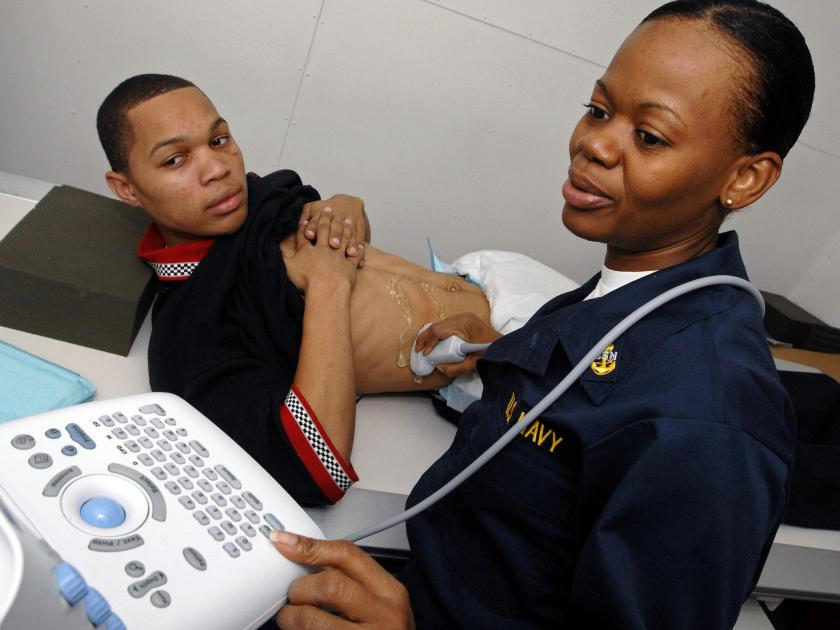 Sonogram to diagnose source of abdominal pain