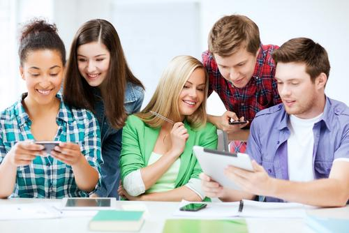 College students using digital devices