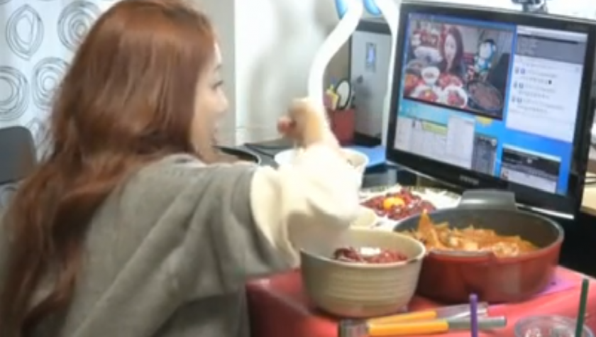 eating on camera