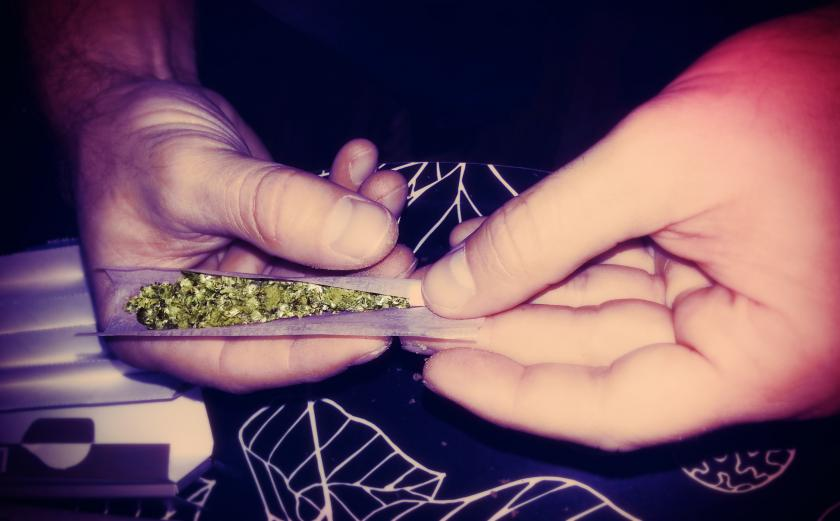 smoking a joint