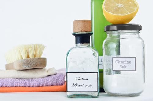 Non-toxic cleaning products in glass jars and bottles