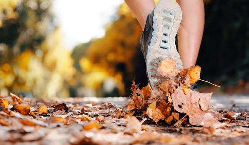 Runner running in autumn leaves