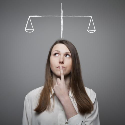 Woman thinking about making a decision
