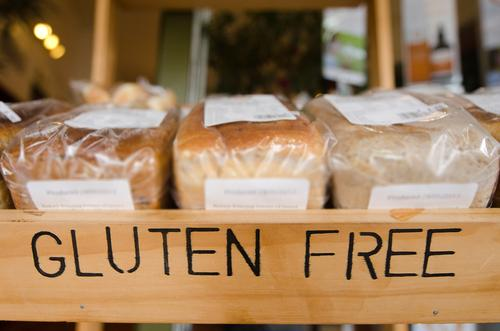 Gluten-free loaf of breads on display in a health food shop