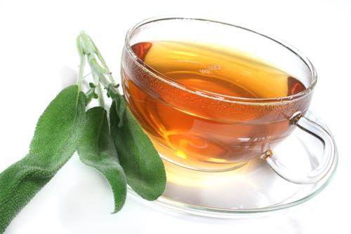 A cup of tea with leaves