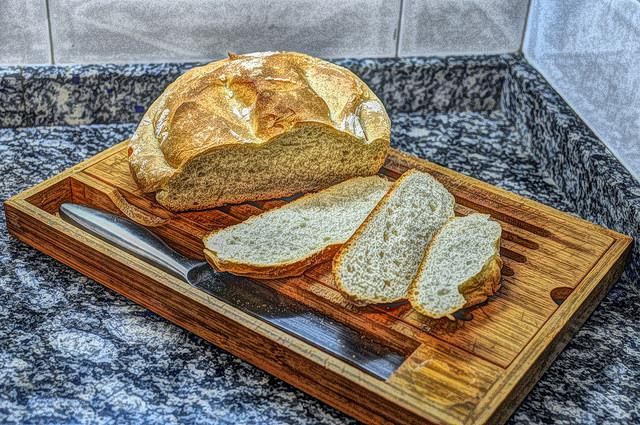 Bread on table with knife