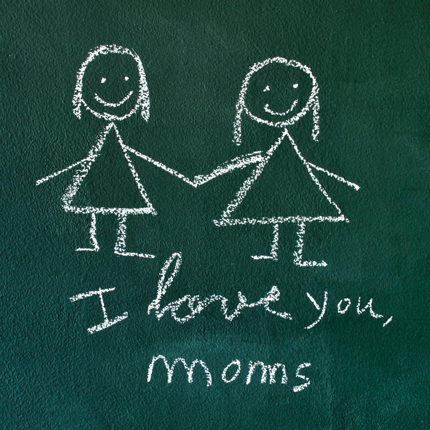 Chalkboard drawing of same sex parents