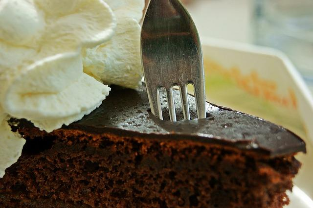 Fork in chocolate cake