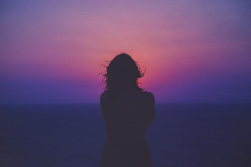Silhouette and Purple Sky