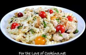 Gemelli with Chicken, Garlic, Heirloom Tomatoes, Basil, and Asiago