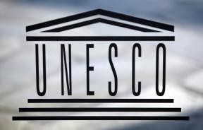 The logo of the UNESCO is seen inside at the headquarters in Paris on September 22,2009.