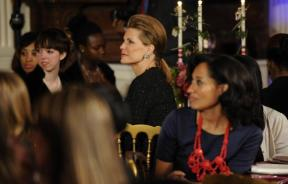 Nancy Brinker (C), founder and chief executive of Susan G. Komen for the Cure, and actress Tracee Ellis Ross (R) attend a dinner celebrating Women's History Month at the White House in Washington March 30, 2011.