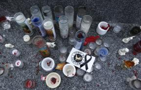 Candles honoring the victims of the Sandy Hook Elementary school shootings in Newtown, Connecticut