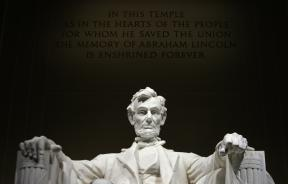 statue of Abraham Lincoln at his memorial in Washington