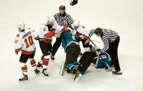 Hockey fight during game