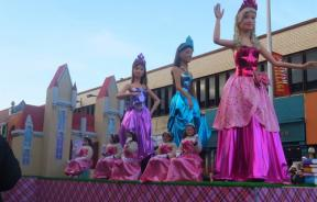 Barbie dolls on float