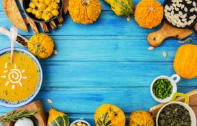 Traditional pumpkin soup and ingredients
