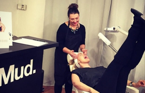 A facial at Mud on opening day