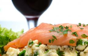 red wine, salmon