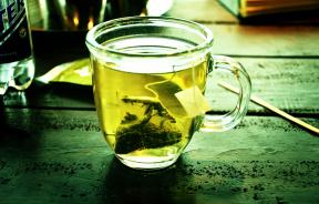 Green tea on table