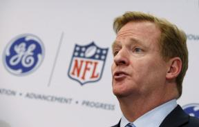 Roger Goodell speaks during a press conference.